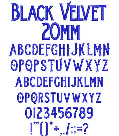 black velvet keyboard font letters