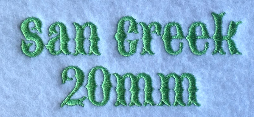 San Creek 20mm Font