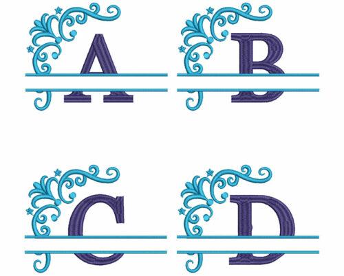 split 2 color monogram esa font letters icon