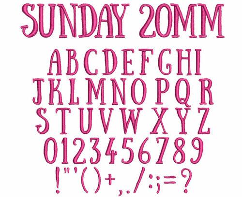 Sunday 20mm Font