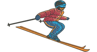 Embroidery Design: Skiing Lg 4.50w X 2.84h