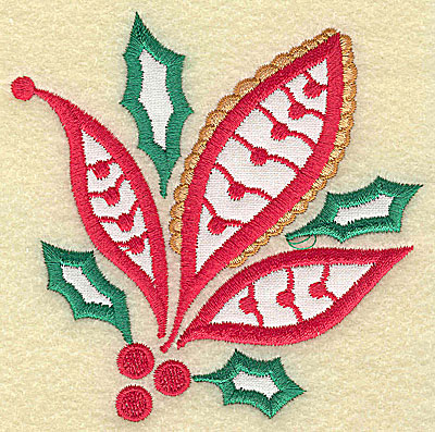 Embroidery Design: Christmas Paisley design A double applique small 3.87w X 3.86h