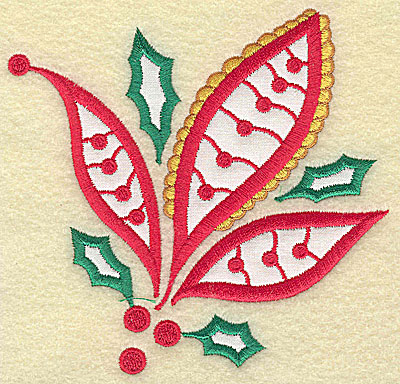 Embroidery Design: Christmas Paisley design A double applique large 4.79w X 4.65h