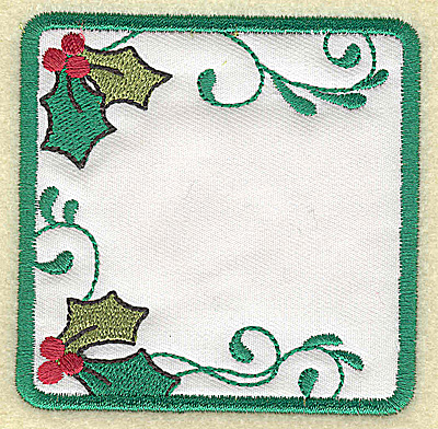 Embroidery Design: Holly design in square applique small 3.22w X 3.21h