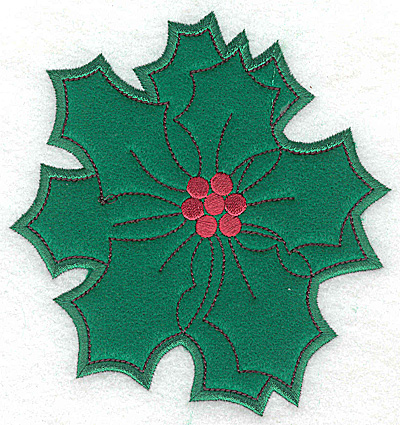 Embroidery Design: Holly applique A large 5.25w X 4.99h