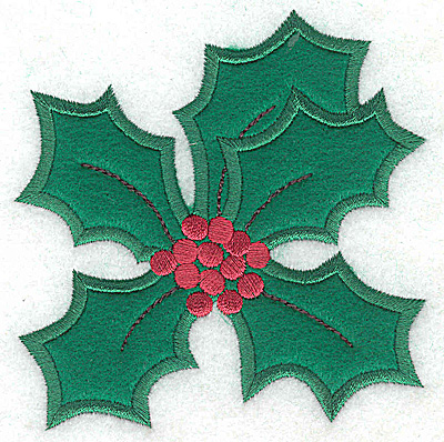 Embroidery Design: Holly applique B small 3.84w X 3.89h