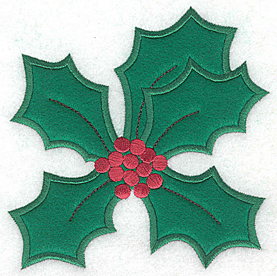Embroidery Design: Holly applique B large 4.76w X 4.94h