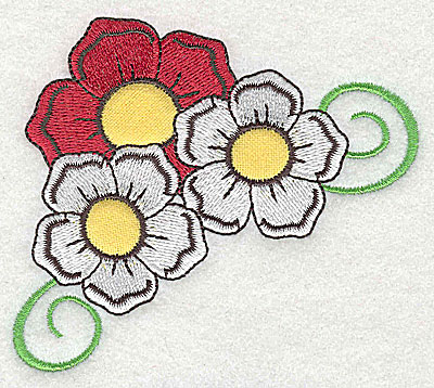 Embroidery Design: Flower trio applique with swirls 3.89w X 3.38h