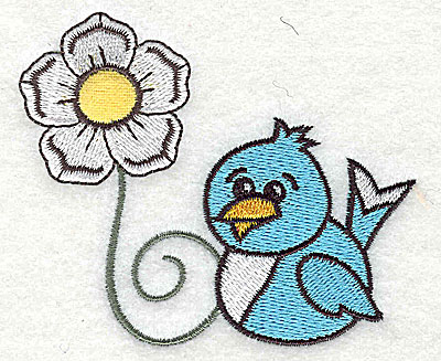 Embroidery Design: Single flower with bluebird small applique 3.43w X 2.90h