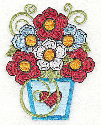 Embroidery Design: Flowers in applique vase with heart 2.95w X 3.89h