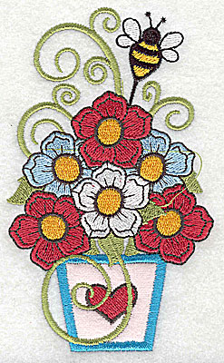 Embroidery Design: Flowers in applique vase with bee 2.95w X 4.94h