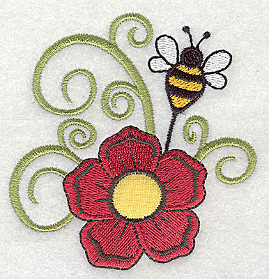 Embroidery Design: Flower applique with bee 3.34w X 3.45h