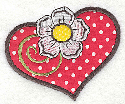 Embroidery Design: Flower in heart double applique 3.81w X 3.10h