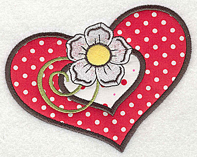 Embroidery Design: Flower in double heart 3 appliques small 4.99w X 3.93h