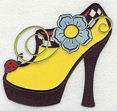 Embroidery Design: Flower and ladybud on women's heel double applique 5.00w X 4.92h