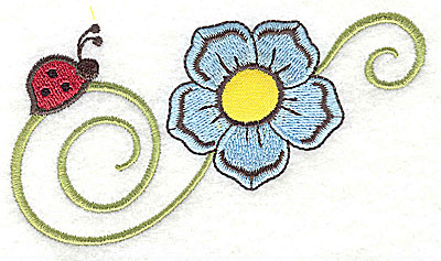 Embroidery Design: Ladybug and flower applique 4.53w X 2.40h