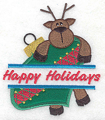 Embroidery Design: Happy Holidays reindeer on ornament split applique 3.66w X 4.25h