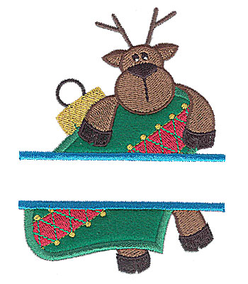 Embroidery Design: Reindeer on ornament split applique 3.26w X 4.25h