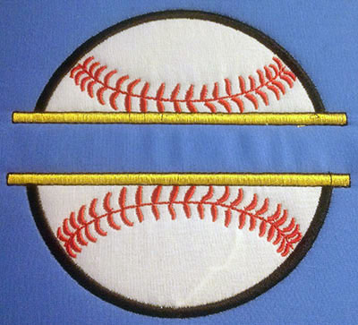 Embroidery Design: Split Applique Baseball Large 6.50w X 6.04h