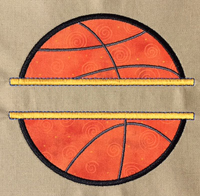 Embroidery Design: Split Applique Basketball Small 5.41w X 5.15h