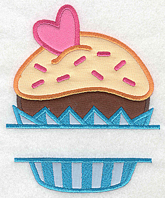 Embroidery Design: Cupcake 1 large four applique 5.99w X 4.84h