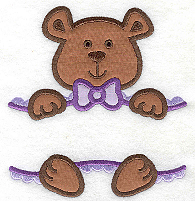 Embroidery Design: Teddy bear large double applique 5.29w X 4.96h