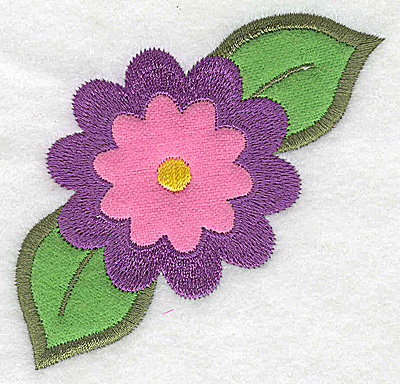 Embroidery Design: Single flower double applique 3.47w X 3.09h