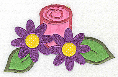 Embroidery Design: Flowers with candle triple applique 4.95w X 3.03h