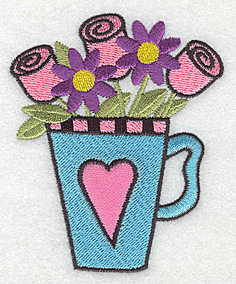 Embroidery Design: Roses flowers in teacup 2.91w X 3.54h