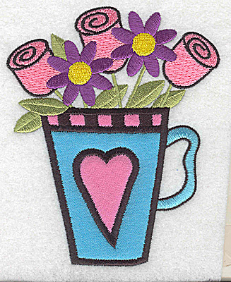 Embroidery Design: Roses flowers in teacup double applique 4.05w X 4.98h