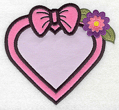 Embroidery Design: Framed heart with bow double applique 4.53w X 4.18h