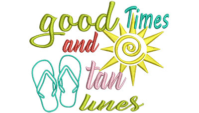 Embroidery Design: Good Times And Tan Lines 5.57w X 4.48h