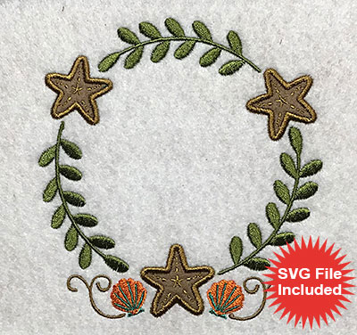 Embroidery Design: Beach Frame Applique 5.00w X 5.30h
