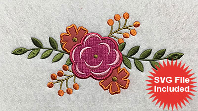 Embroidery Design: Flowers Applique 3.45w X 6.99h