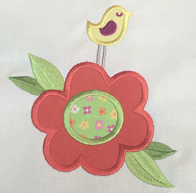 Embroidery Design: Bird and Flower Applique4.91w X 5.95h