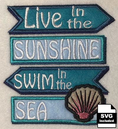 live in the sunshine embroidey design