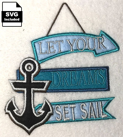 dreams set sail embroidery design
