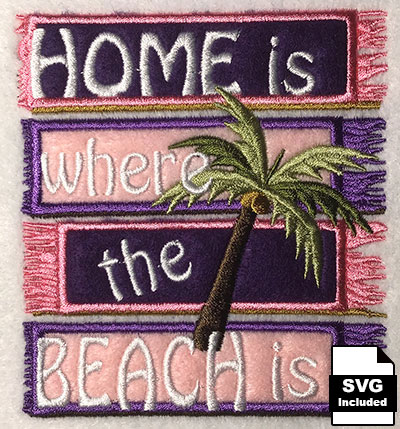 home is where the beach is embroidery design
