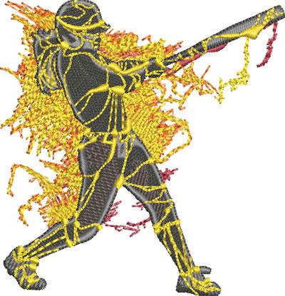 Softball player embroidery design