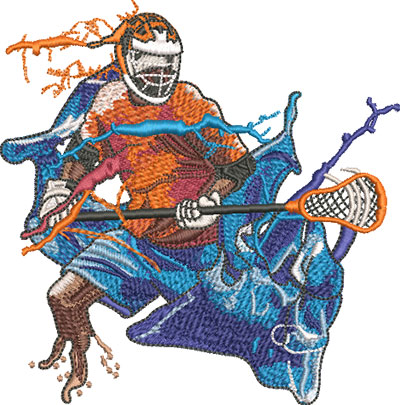 lacrosse player embroidery design