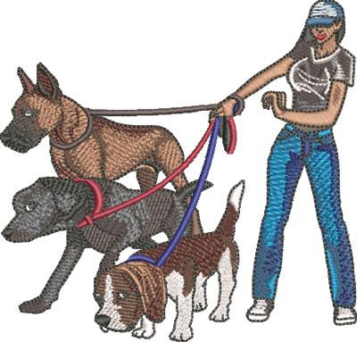 female dog walker embroidery design