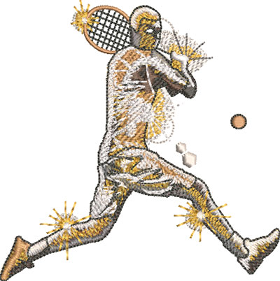 gold tennis player embroidery design