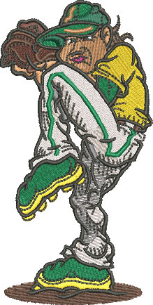 baseball pitcher embroidery design