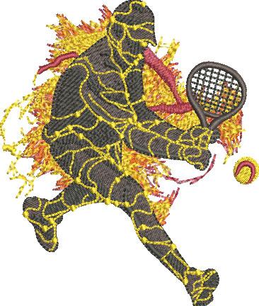 lava tennis player embroidery design
