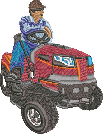 guy on lawnmower embroidery design