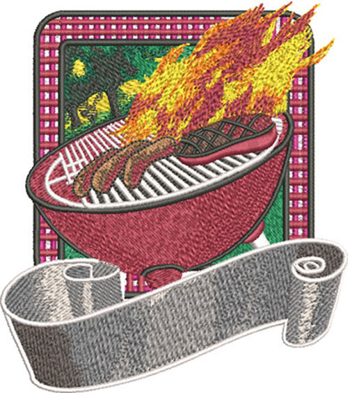 bbq flaming grill embroidery design