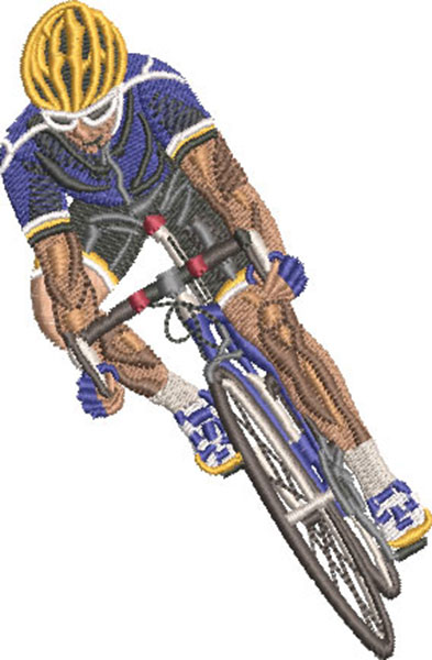 cycling front embroidery design