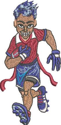 flag football boy embroidery design