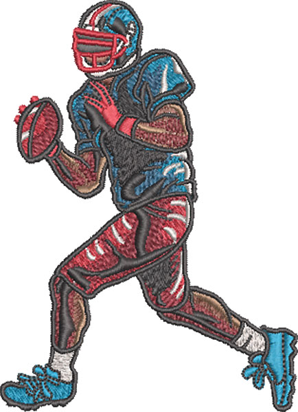 football quarterback embroidery design